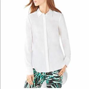 BCBG MAXAZRIA Aylin high-low white dress shirt